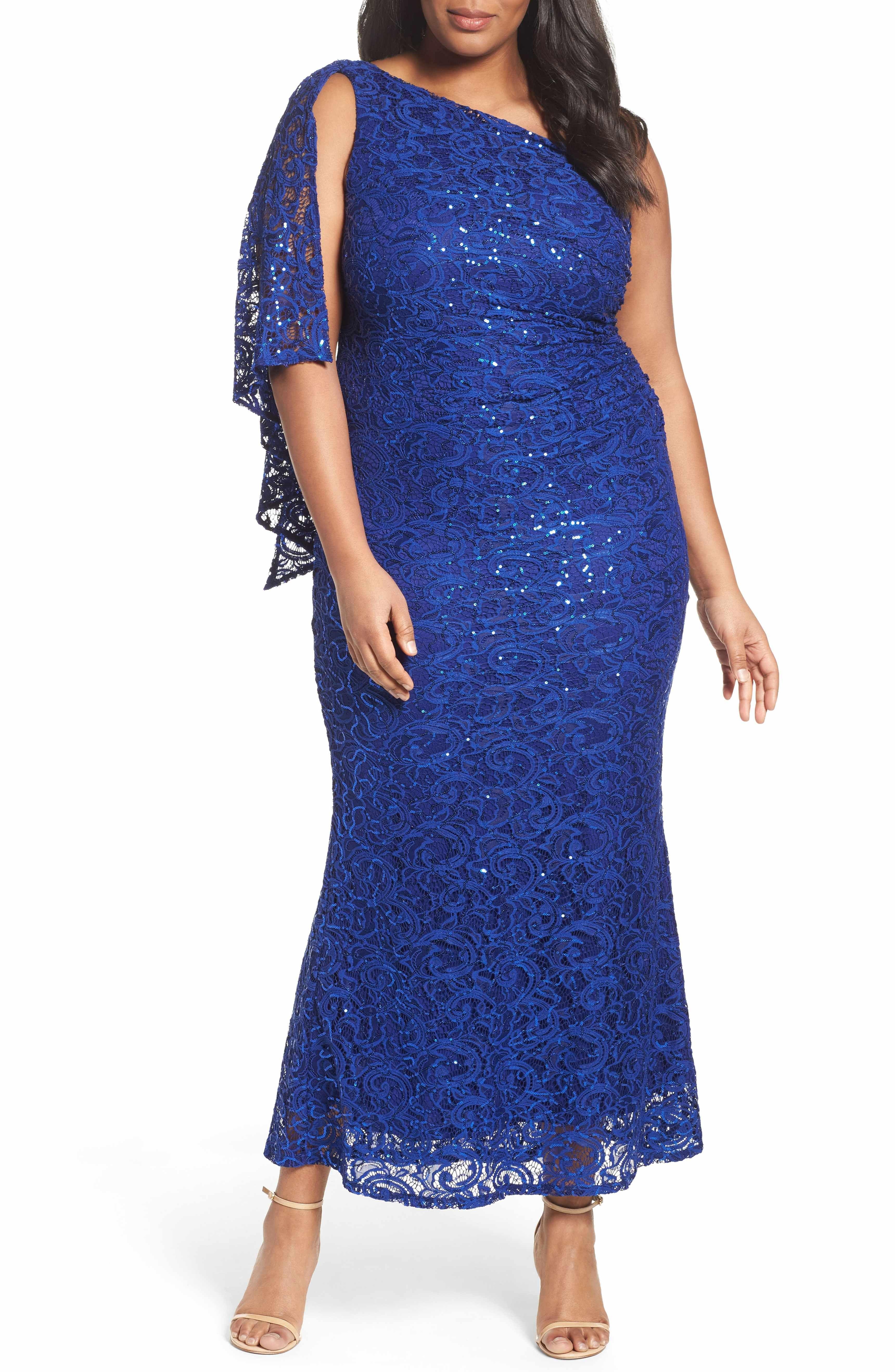 Main Image Marina Sequin Lace One Shoulder Gown Plus Size One Shoulder Gown Women Lace Dress Plus Size Dresses [ 5272 x 3440 Pixel ]