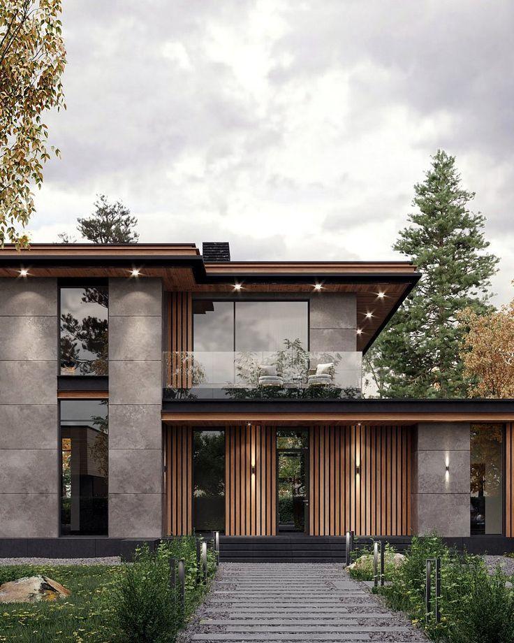 Hausdesign | Fassade aus Beton und Holz | Villa Inspiration