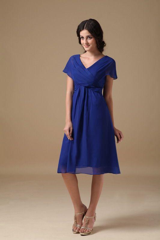 Mother Of The Bride Dresses Tea Length Royal Blue Dress By Designer