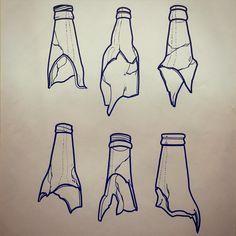Someone let me tattoo a broken bottle on you!! #illustration #brokenbottle…