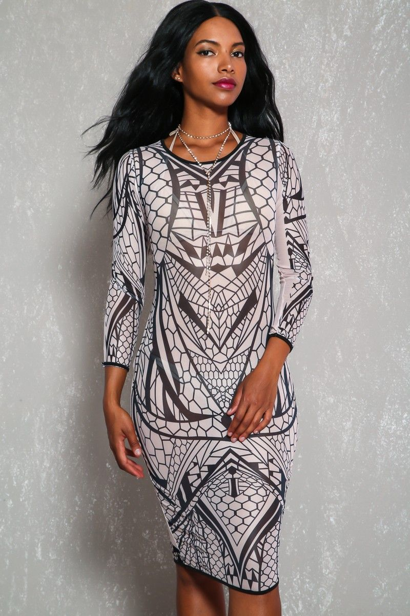 Sexy beige black sheer printed long sleeve bodycon dress bodycon