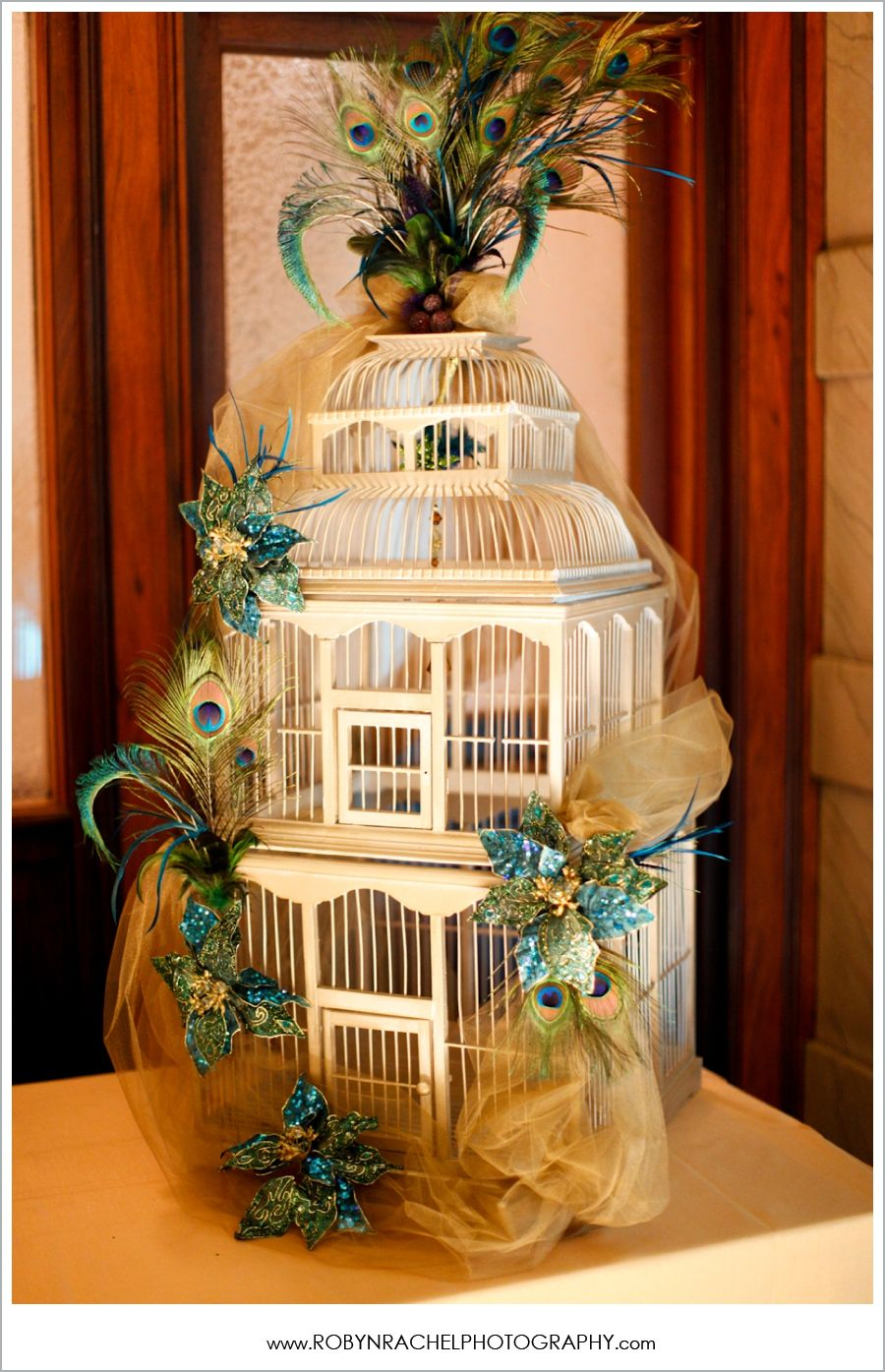 peacock and bird cage wedding decor just less feathers on top our