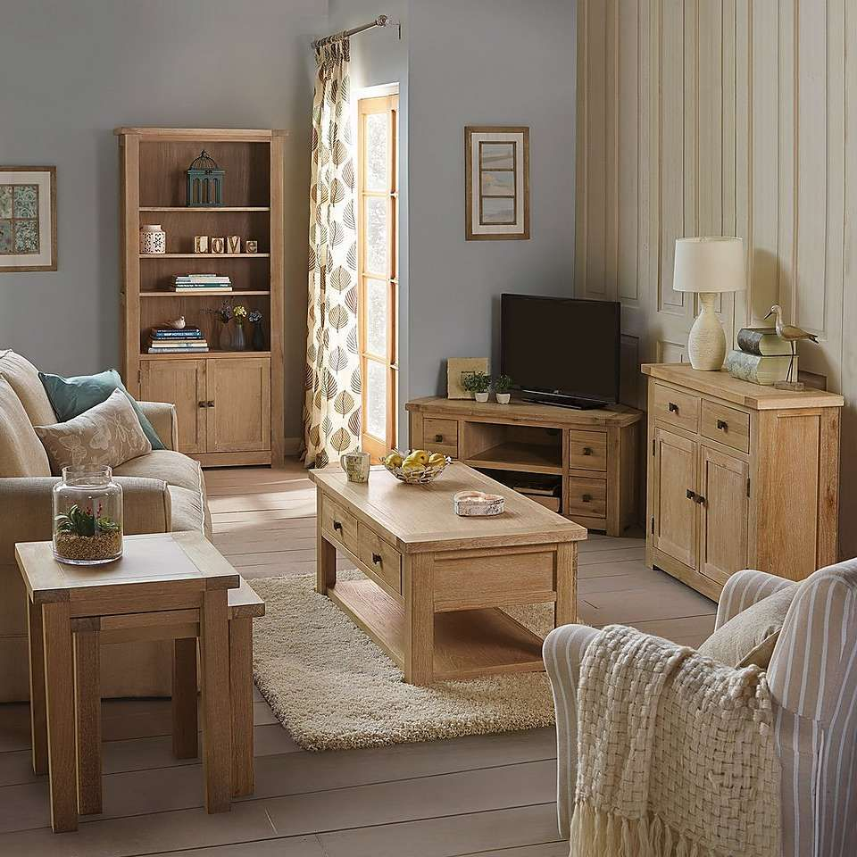 Henley Washed Oak Living Room Furniture Collection | Dunelm