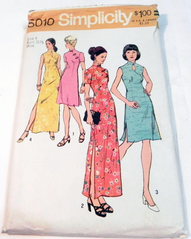 1970s cheongsam maxi dress asian inspired boho sewing pattern 1970s cheongsam maxi dress asian inspired boho sewing pattern simplicity 5010 size 8 bust 315 jeuxipadfo Choice Image