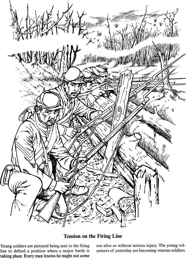 a soldiers life in the civil war coloring page 4 of 5 - American Civil War Coloring Pages