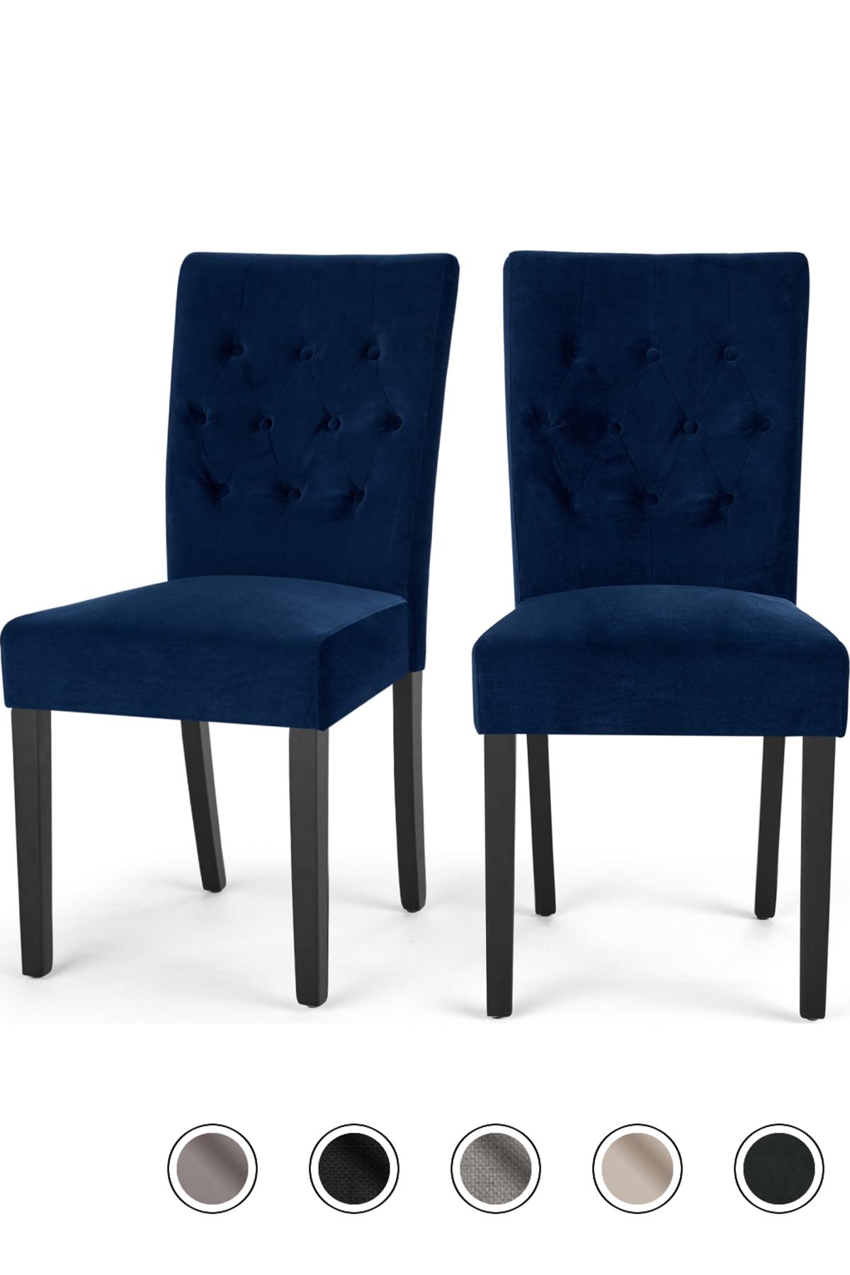 Flynn Set Of 2 Dining Chairs Royal Blue Velvet Dining Chairs Velvet Dining Chairs Blue Dining Chair