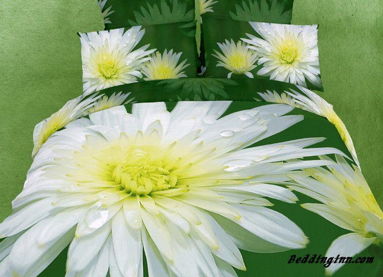 Chrysanthemum Print Fresh Green Color 4 Piece Bedding Sets Live A