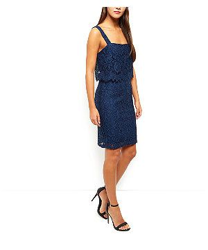 Blue Lace Layered Mid Dress  | New Look