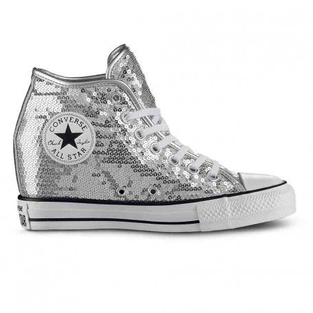 Sneaker Converse All Star 556781c ctas lux mid silver pailettes summer 2017