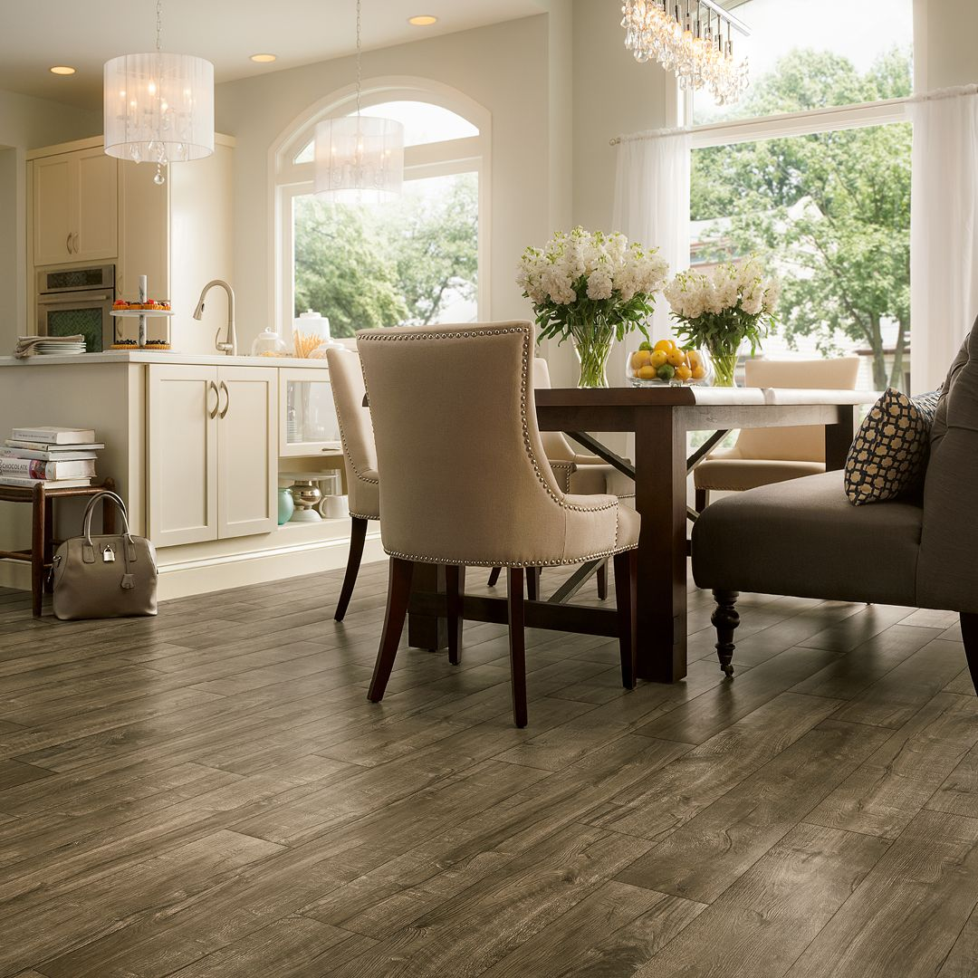 Take A Peek At This Gallery Of Linoleum Flooring Ideas: This Reclaimed Look LVP Is Perfect For Any Busy Kitchen