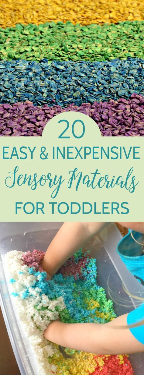20 Easy & Inexpensive Sensory Materials for Toddlers is part of Sensory activities toddlers, Sensory activities, Toddler sensory, Sensory play toddlers, Infant activities, Baby sensory play - A collection of 20 toddler safe sensory materials you can make at home to engage your toddler in learning, exploration, and sensory discovery