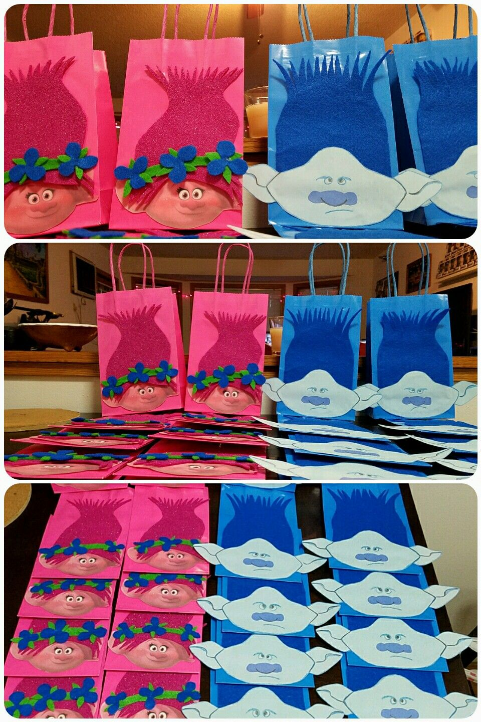 DIY Trolls Poppy Amp Branch Gift Party Bags Learn How To Make It