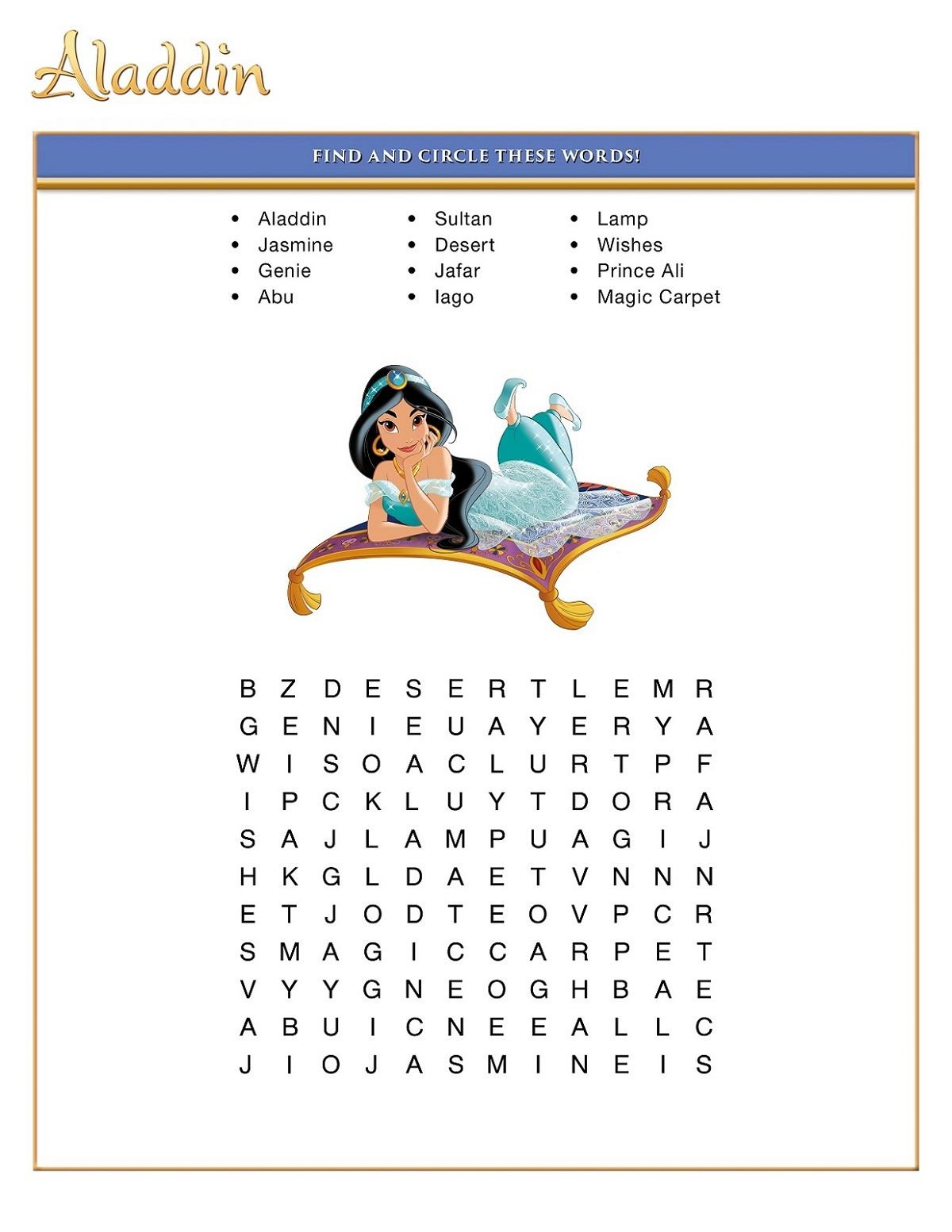 Printable Fun Disney Word Searches