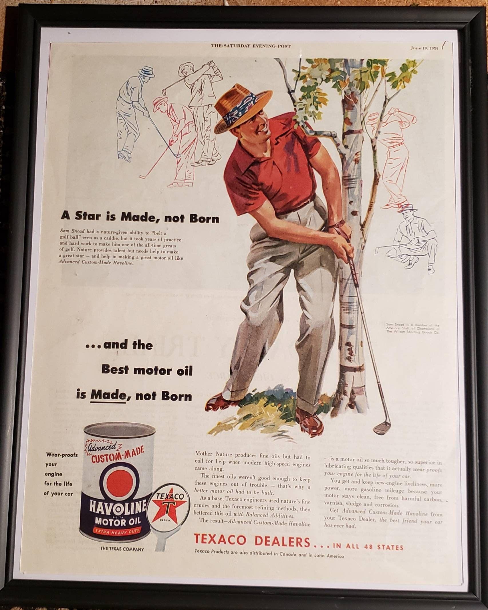 Framed original vintage 1954 Sam Snead Havoline Motor Oil Texaco