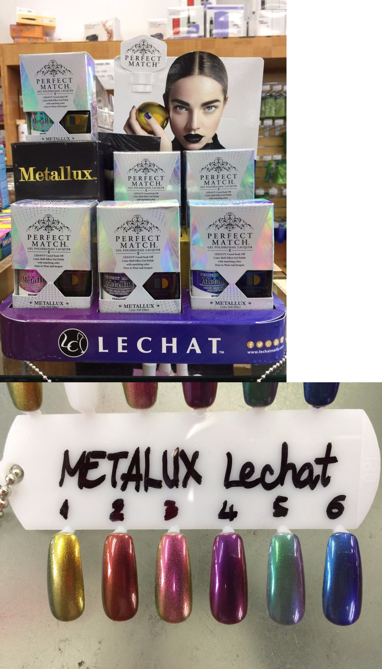 Gel Nails: Lechat Perfect Match Metallux Collection Chrome Gel + Lac ...