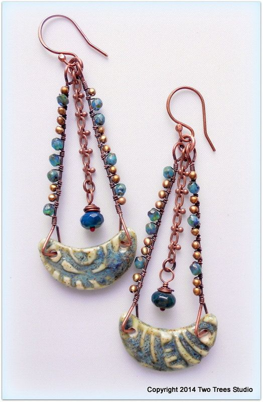 RESERVED FOR SANDRA W  Long swingy porcelain and gemstone earrings by TwoTreesStudio. $32.00.