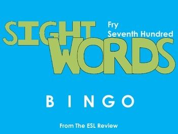 Play bingo with your students in style using these beautifully crafted bingo cards covering the seventh hundred of the Fry Instant Sight Words. This packet includes: - a set of 50 bingo cards for the first fifty words- a second set of 50 bingo cards for the remaining fifty words- caller cards for each set- bingo markersEnjoy!Dont forget to try:* Fry Sight Words Bingo - First Hundred* Fry Sight Words Bingo - Second Hundred* Fry Sight Words Bingo - Third Hundred* Fry Sight Words Bingo - Fourth…