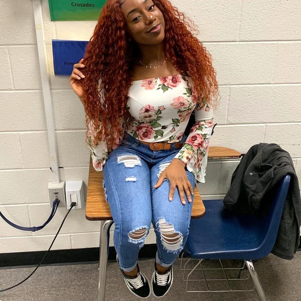 Dark Skin Black Girl Orange Hair Burnt Orange Cajun Spice Instagram Thatliberiangirl In 2020 Hair Color For Black Hair Orange Hair Burnt Orange Hair
