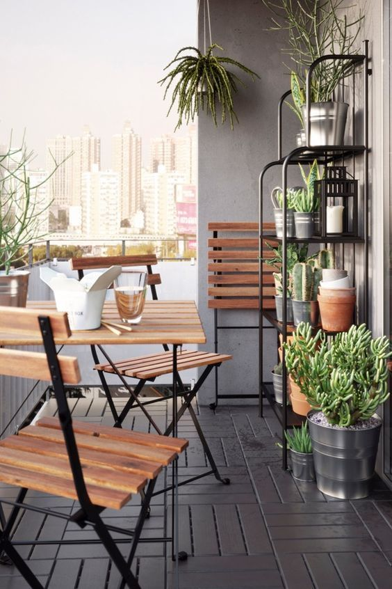 TÄRNÖ Table+2 chairs, outdoor, black acacia, gray-brown stained steel #smallbalconyfurniture