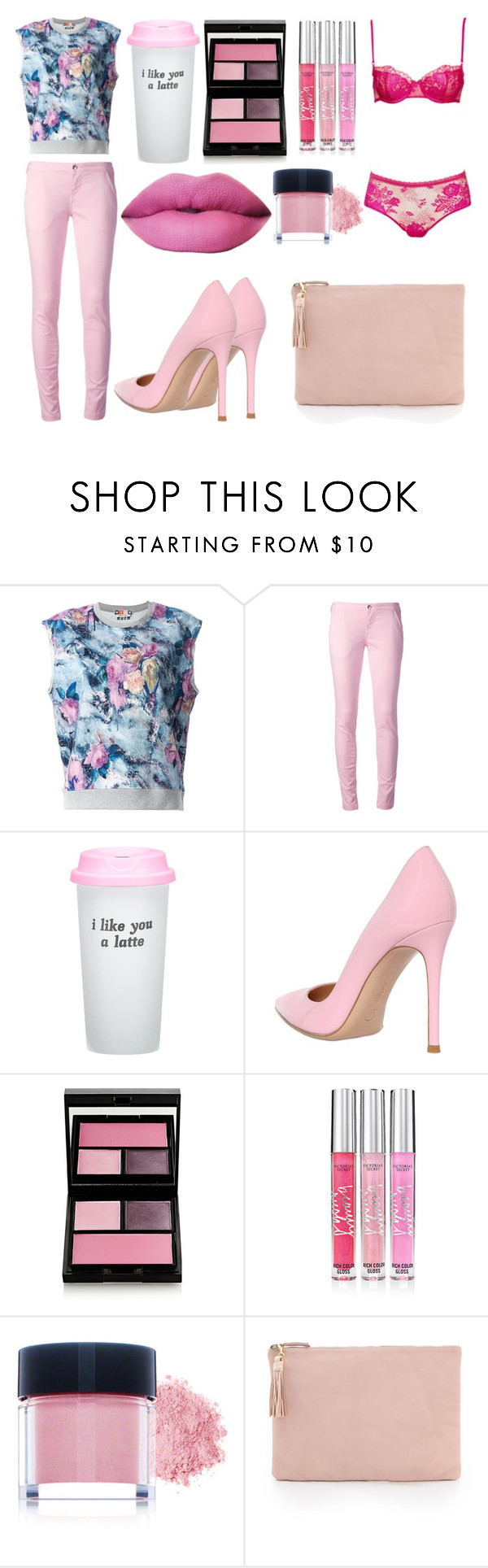 """""""Sans titre #3889"""" by crazymoustik ❤ liked on Polyvore featuring MSGM, FAY, Bow & Drape, Gianvito Rossi, Surratt, Victoria's Secret, Youngblood and Clare V."""
