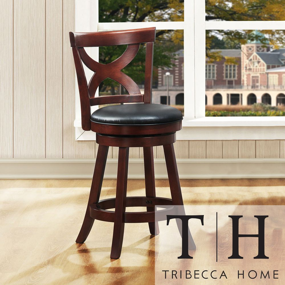 Crosby Cherry X-back 24-inch Swivel High Back Counter Stool by TRIBECCA  HOME by INSPIRE Q