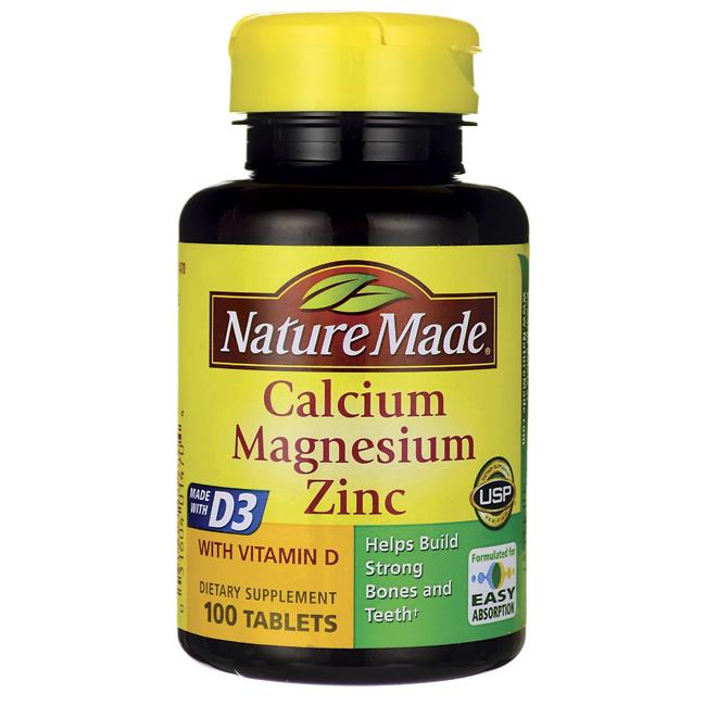 Calcium Magnesium Zinc with Vitamin D, 100 Tabs (With