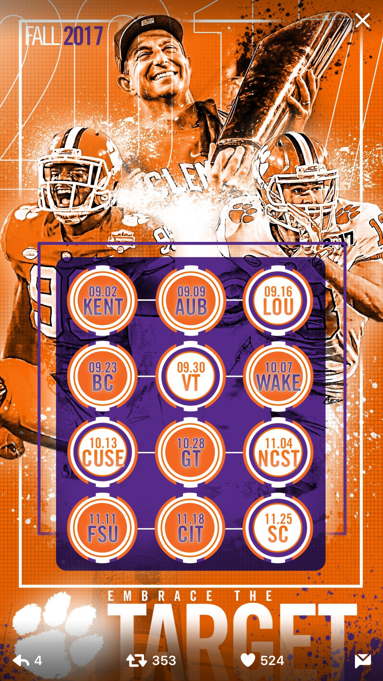 Pin By Nancy Ulmer On Iphone Backgrounds Clemson Football Clemson Tigers Football Clemson