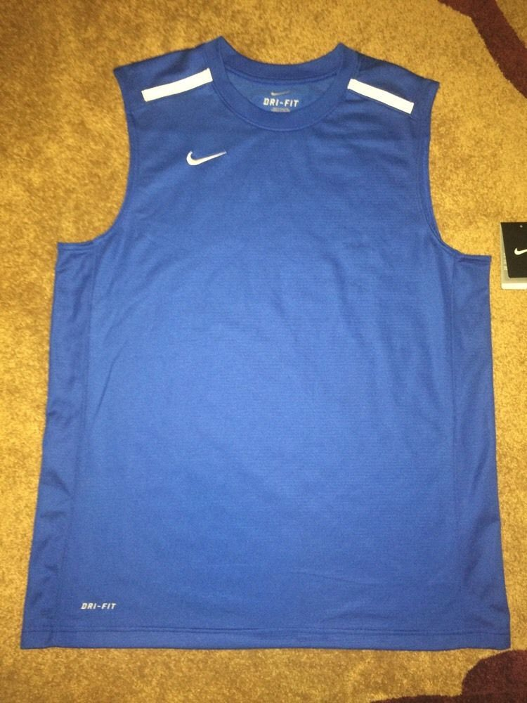 8bd04174242e NWT Size 2XL XXL Mens Nike Dri-Fit Tank Top Shirt Basketball 521130 493  Blue  Nike  BasicTee