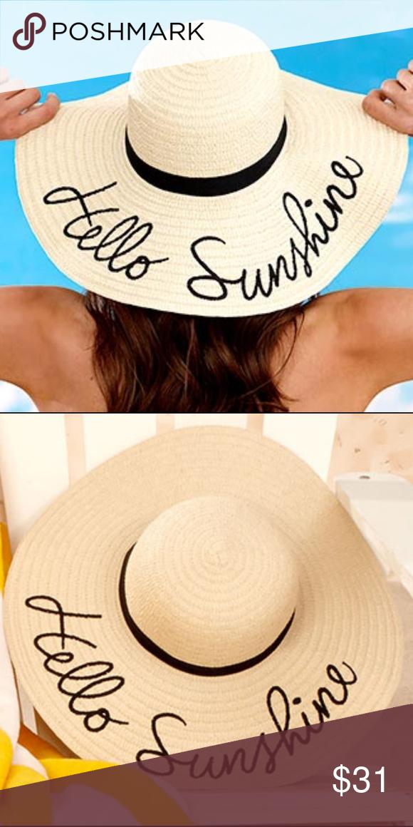 b481694b574 Hello Sunshine Wide Brim Floppy Sun Straw Hat This Embroidered Sentiment  Floppy Sun Hat is a