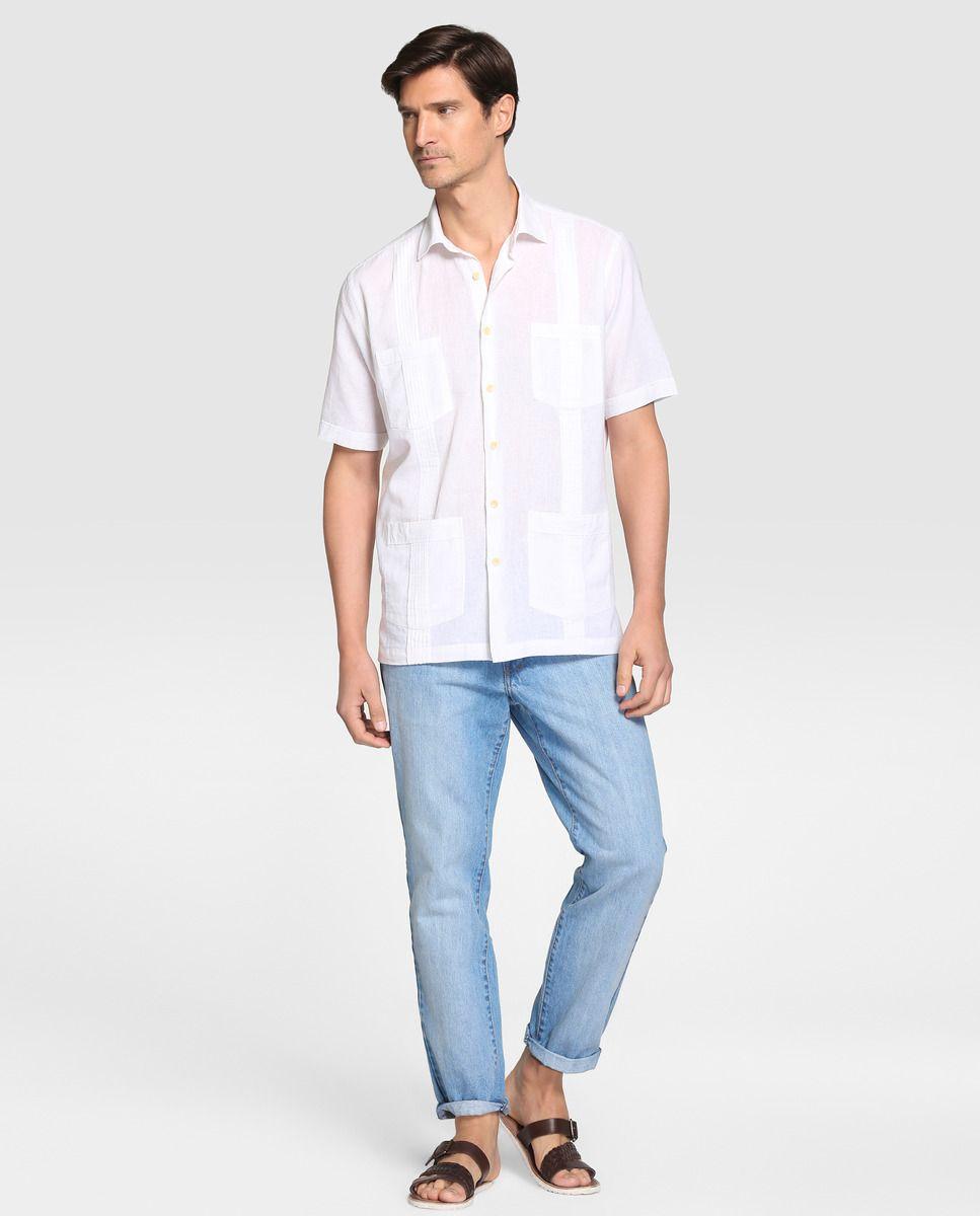 Camisa guayabera de hombre Dustin classic lisa blanca · Dustin ...