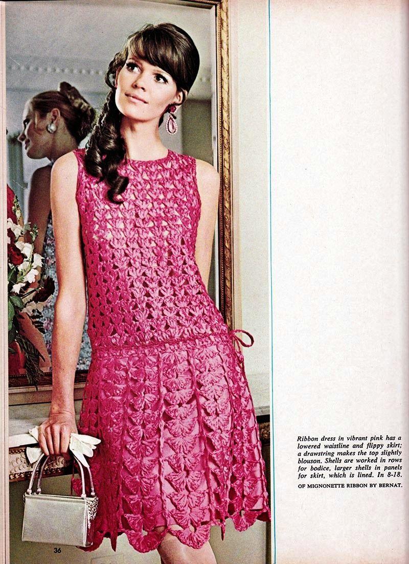 Vestido de Crochet Rosa   Vestidos túnicas, Anos 60 y Vestidos de ...