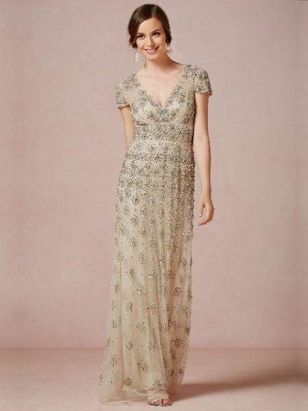 vestido de novia corte imperio cuello v manga corta con cristales