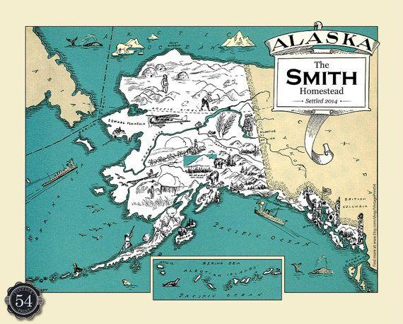 Personalized Alaska Map AK Map Print Vintage Map Retro Custom Map - Ak map