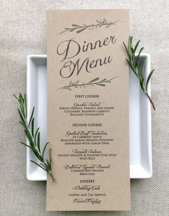 Wedding Menu Card - Rustic Wedding Menu Cards - Kraft - pinned by ...