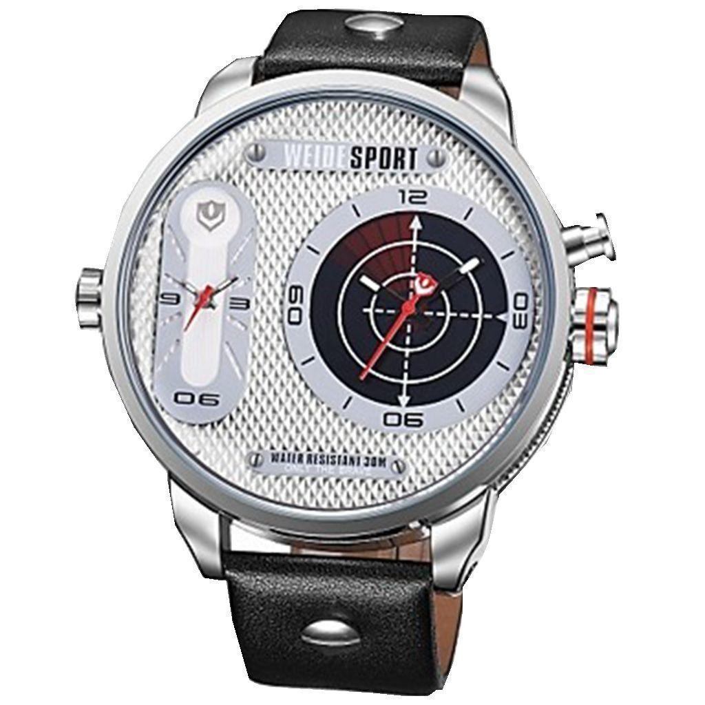 Men Sports Luxury Oversized Dual Time Zones Genuine Leather Strap Quartz Watch