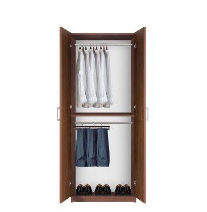 Bella Double Hanging Wardrobe Closet 2 Hang Rods 1049