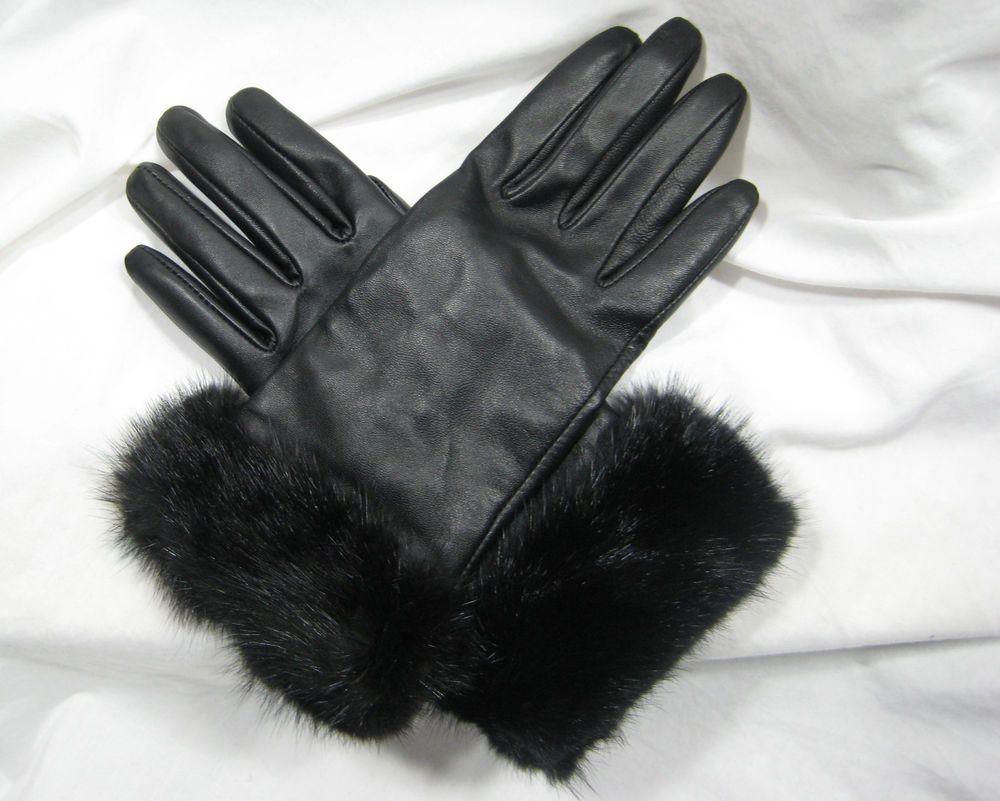Black gloves fur trim - Black Black Leather Fur Trimmed Wool Lined Gloves