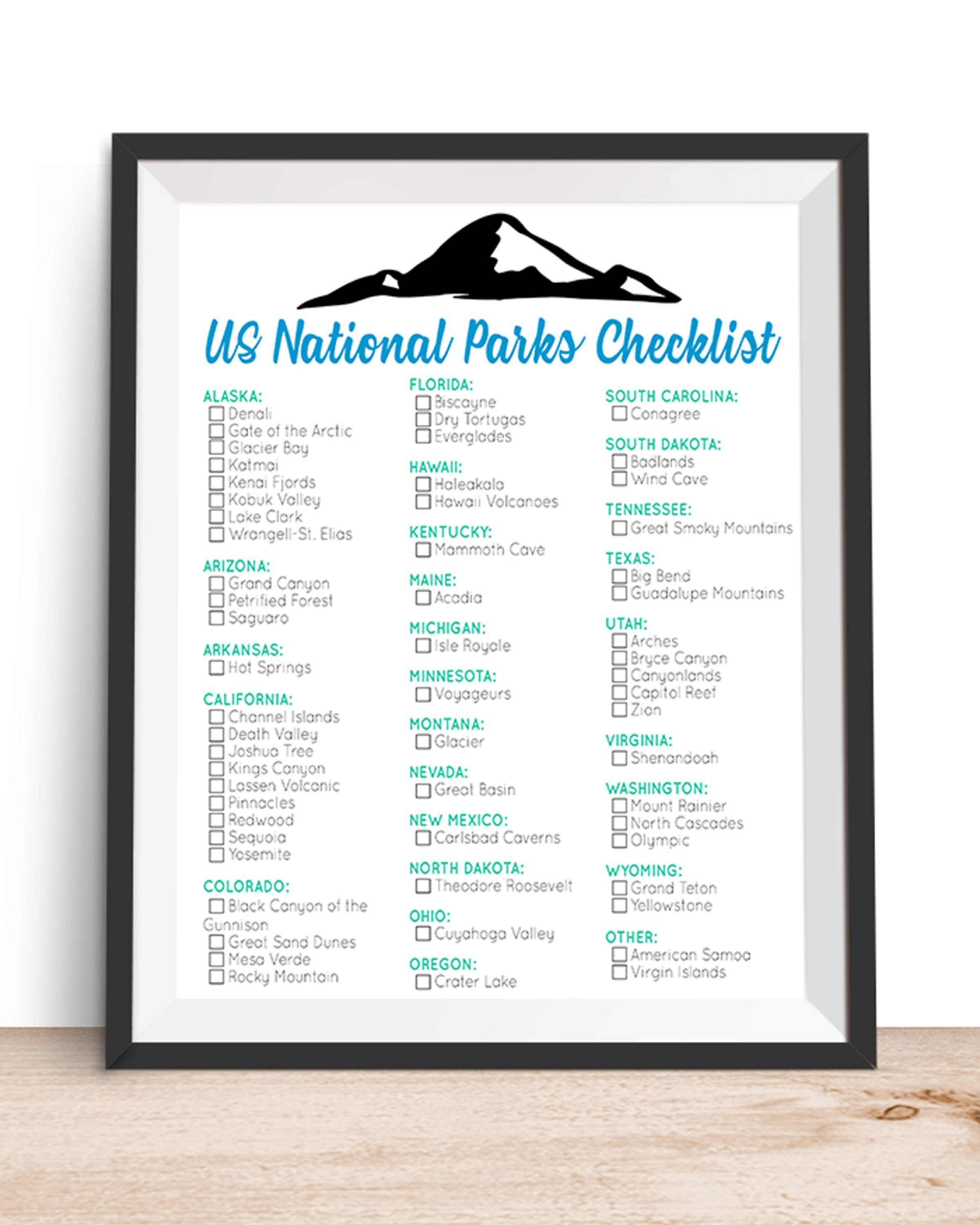 Us National Parks Checklist 3 Printable Pdf File 8 5 X