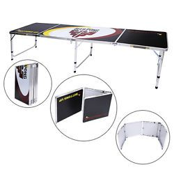 Portable 8' Aluminum Beer Pong Drinking Game Folding Tailgate Party Table