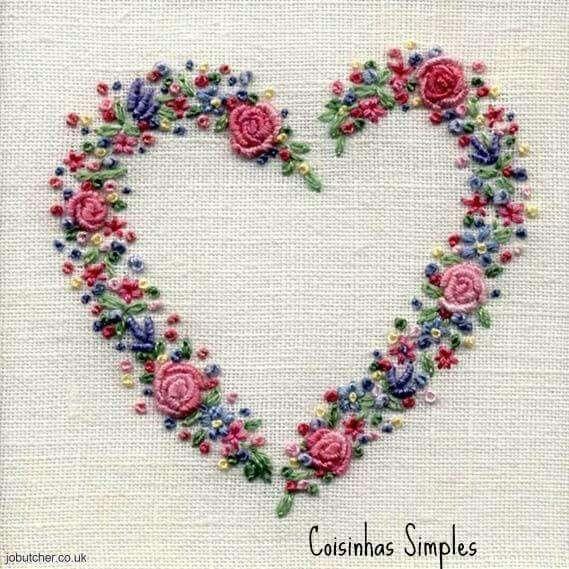 Coração bordado bordados pinterest