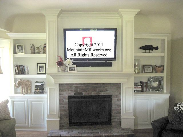 Wall Mount Tv Over Fireplace I Wonder How Well This Would Work With A Full Brick Wall Fireplace Built Ins Living Room With Fireplace Home