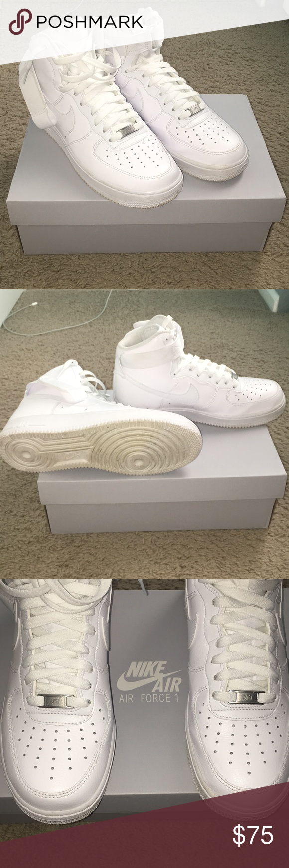 separation shoes 4169f 51a5c White Nike Air Force 1 (One) Hi (High) Authentic All White ...