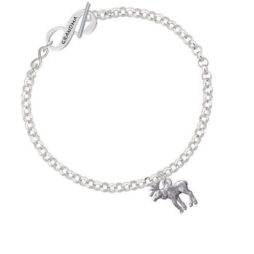 Silvertone Blue Ribbon Grandma Infinity Toggle Chain Bracelet 8