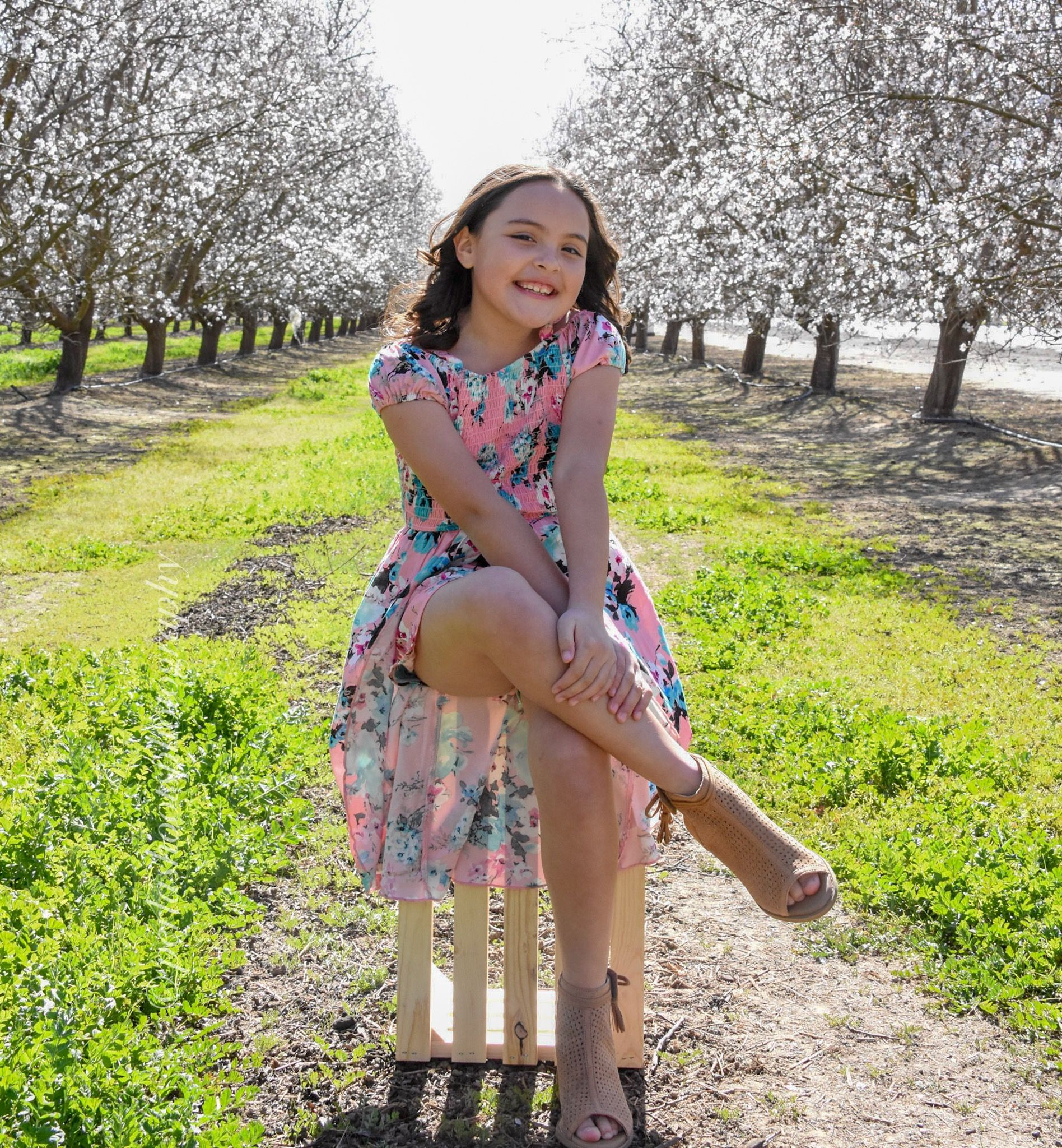 Portrait photography/ blooming orchards/ California