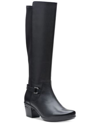81106f7aa90 Clarks Collection Women s Emslie March Wide-Calf Riding Boots - Black 7.5W