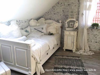 Landhaus Bett 90x200 mit Schubladen