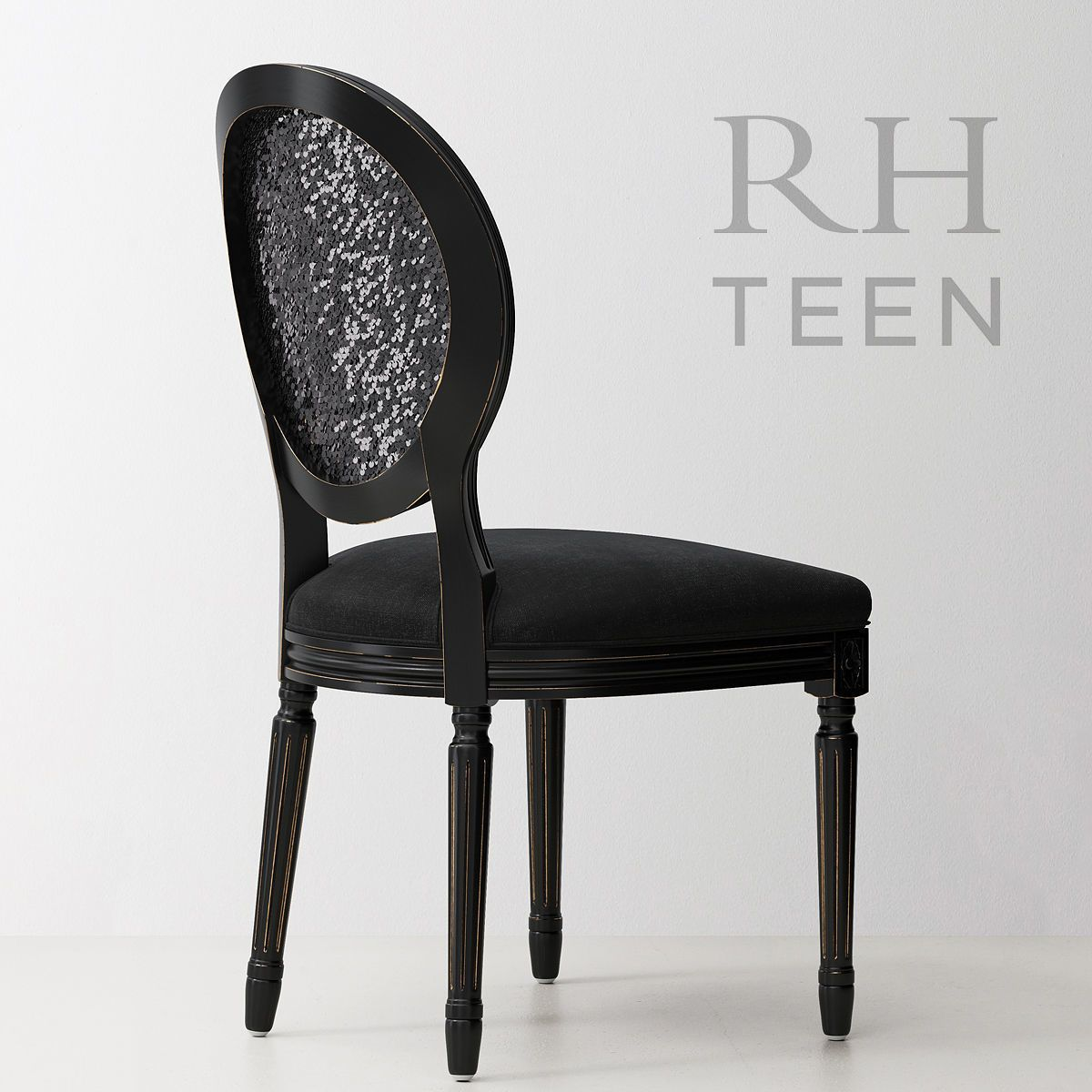 vintage french sequin desk chair - black 3d model max obj