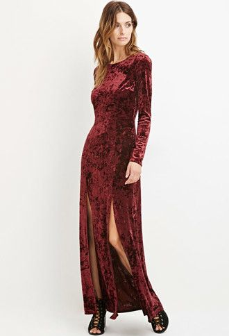 bc21a654356 Contemporary Crushed Velvet Maxi Dress