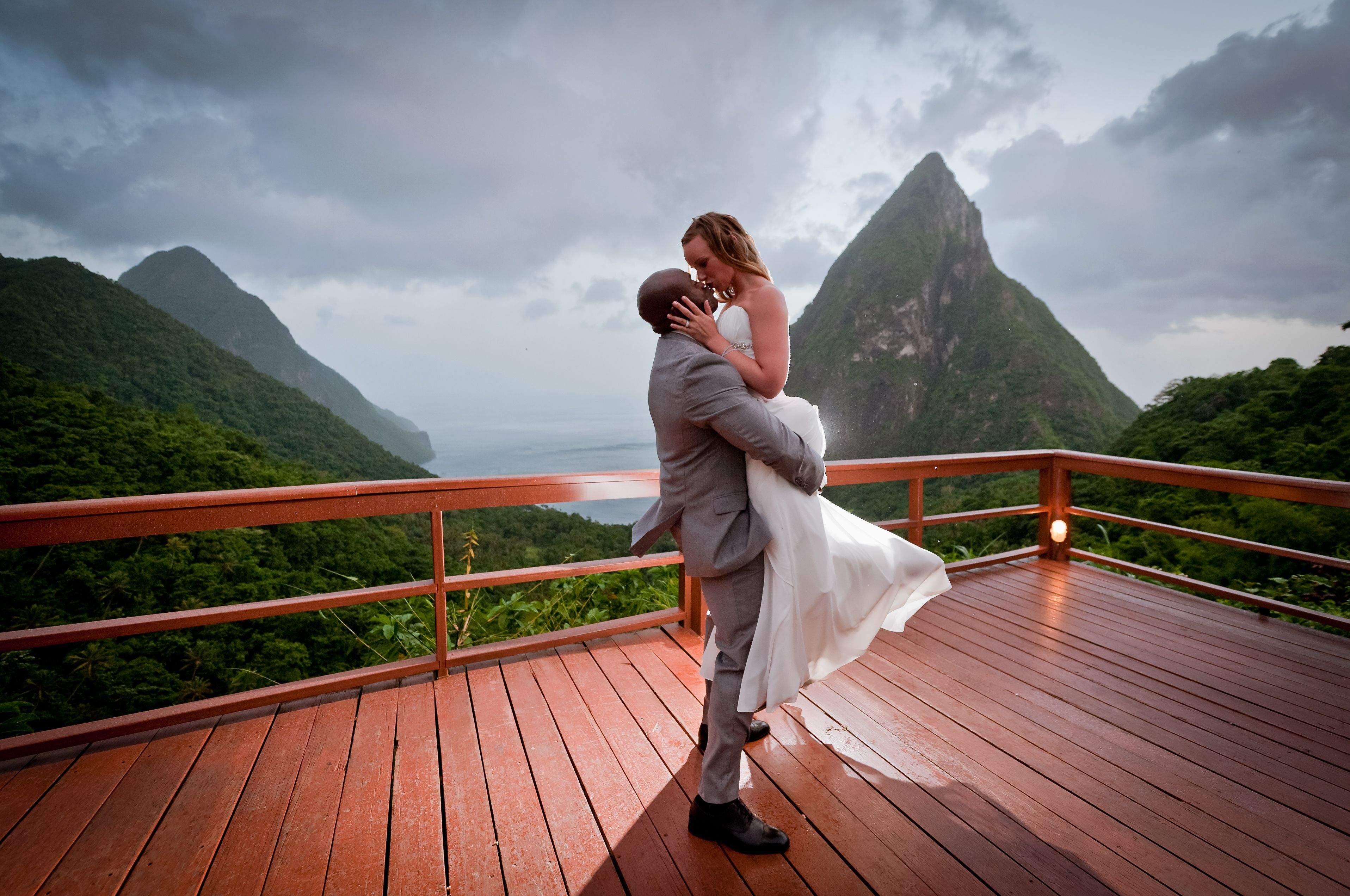 my favorite wedding photo (I might be biased because its my own) between the Piton Mountains at the Ladera Resort in St. Lucia  http://www.ladera.com/