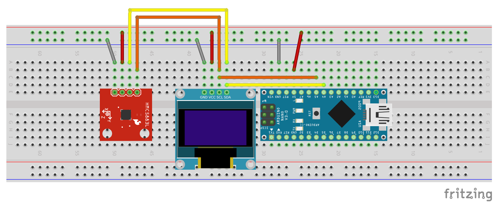 Example Of Electronic Circuit Design This Show A Arduino Nano Connect With Gy 271 Digital Compass Module And 096 128x64 Oled Via Common I2c Bus Is Digita
